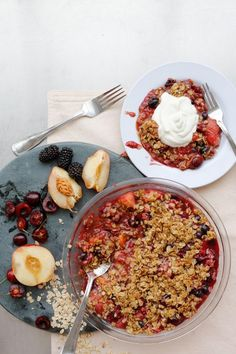 Stone Fruit Crumble topped with Chobani