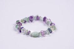 GENUINE HEALING FLUORITE Crystal Stone Chip Bracelet  #Bracelets