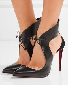 Christian Louboutin 'Ferme Rouge' Cutout Leather and Suede Pumps Mens New Years Eve Outfit Christian Louboutin Outlet, Stilettos, Stiletto Heels, Shoes Heels, Moda Fashion, Fashion Shoes, Louboutin High Heels, Red Bottom Heels, Mode Shoes