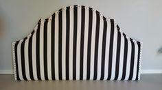 Queen size upholstered headboard black white stripe nail head trim