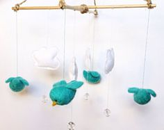 Needle felted birds mobile with felt clouds and clear beads, felt animals mobile eco-friendly baby's room decoration