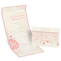 An exquisite floral sketch beautifully complements the graceful curves featured on this seal and send wedding invitation. A linen background lends a country rustic feel to the ensemble. Flowers and border are printed in your choice of color. Your wording is printed in your choice of colors and fonts. Seal and send invitations feature a perforated response card printed with your return address on one side and your response wording on the other. Guests fill out the card, remove it and return…