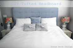 How to Make A DIY Tufted Headboard tutorial on dreambookdesign.com