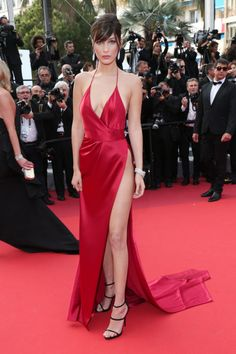 Bella Hadid was red hot in Alexandre Vauthier Couture at the 2016 Cannes film festival. Her gown featured an up-to-there slit and plunging neckline.
