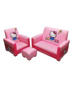Look at this #zulilyfind! Hello Kitty Tulips Three-Piece Sofa Set by Hello Kitty #zulilyfinds