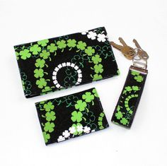 St Patrick's Day Irish Shamrocks Checkbook Cover by QuiltSewCover, $21.00