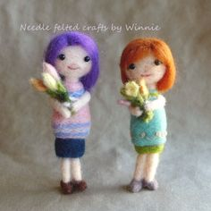 Needle felted Flowers for Her doll each sold by FunFeltByWinnie