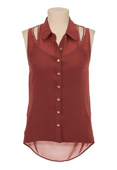 High-Low Studded Tank available at #Maurices