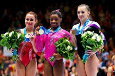 2013 World Championships Floor podium: 1. Simone Biles, 2. Vanessa Ferrari, 3. Larisa Iordache