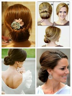 Bridesmaid hairstyles - this could work for Morgan since she has long hair...I like the idea of a simple kind of bun.. I know that some girls have really short hair.. So I'm thinking that you girls all won't have the same hairstyle. @Lauren Mulvenna