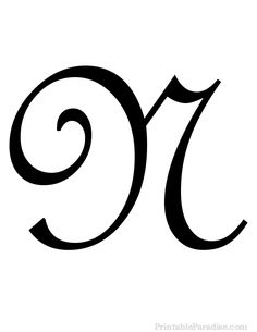 Print Free Large Cursive Letter N. Letter N in Cursive Writing for Wall Hangings or Craft Projects. Cursive Letter N Cutout on Full Sheet of Paper.