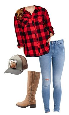 """""""Farm Life"""" by savanah-mariee ❤ liked on Polyvore featuring Charlotte Russe, Billabong, Arizona, Goorin and plus size clothing"""