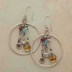 """DREAM CATCHER EARRINGS--Native American ornaments catch good dreams and let bad ones slip through. Jes MaHarry honors the tradition with charms and gemstones of citrine, apatite, spinel and amethyst dangling from sterling silver hoops. Exclusive. Handmade in USA. French wires. 2-1/2""""L."""