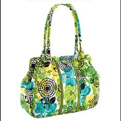 """Vera Bradley Frame Bag Satchel Lime's Up NWT Vera Bradley Frame Bag Satchel Lime's Up. Hidden magnetic closure, end pockets great for cellphone/keys. One zip & 3 slip interior pockets, rolled handles. 10 1/2"""" W x 10"""" H x 4"""" D with 9"""" strap drop. NWT Vera Bradley Bags Satchels"""