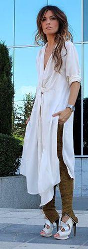 Madame De Rosa White Long Shirt Dress Fall Inspo