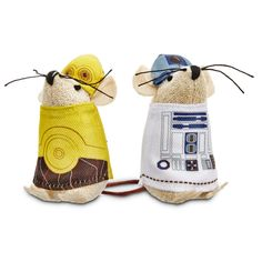 STAR WARS C-3PO & R2-D2 Mice Cat Toys - This pack of two character mice inspired by STAR WARS includes miniature versions of C-3PO and R2-D2. Have your cat go up against the two of them, and remember 2 is always better than 1. - http://www.petco.com/shop/en/petcostore/star-wars-c-3po-and-r2-d2-mice-cat-toys