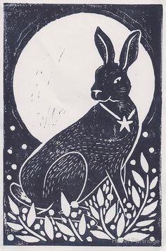 'Hare and Moon Lino Print' Greeting Card by Hazel Partridge Linocut Prints, Poster Prints, Art Prints, Block Prints, Hare Illustration, Folk Print, Bunny Art, Bunny Drawing, Linoprint