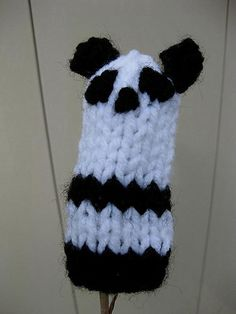 New to AnneArchy on Etsy: Panda Bear Finger Puppet knitting PATTERN - instant download - permission to sell finished items (2.00 USD)