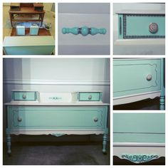 My new favorite piece!! Painted with Shabby Paints Snow White, Stunning Silver and Shabby Varnish. Loving the soft mint and white combo!