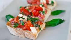 Bruschetta with provolone cheese appetizer