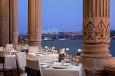 Private balcony and dinner date in Istanbul x Tugra Restaurant, Ciragan Palace Hotel.   Turkey.