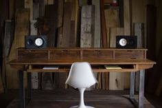 Custom Made Studio Desk For Audio + Video Production W/ Keyboard Workstation Shelf And Rack Units