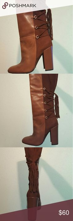 Brown leather/suede knee high boots ATANADO SOFT SCHUTZ Shoes Heeled Boots