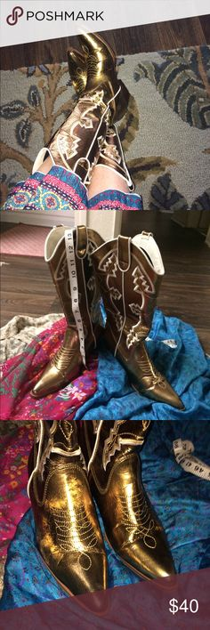 Gold Cowgirl Mardi Gras Boots Blossom Collection Party Boots!  I love these Statement boots but they only need to be worn once to impress your friends!  They are in fantastic condition as you can see from the photos.  They are very warm with a fleece like lining.  Dance and flirt in these bad girls ⚡️💛🤘🏼 Blossoms Collection Shoes Heeled Boots