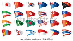Moving flags set - Asia. 24 flags. . JPEG version.
