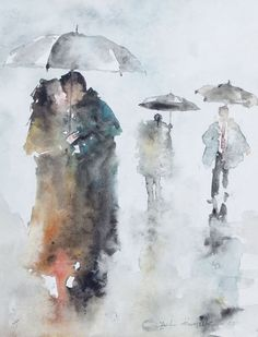 Watercolor painting of people in the rain Watercolor Sketch, Watercolor Portraits, Watercolor Landscape, Abstract Watercolor, Watercolour Painting, Painting & Drawing, Watercolors, Drawing Rain, Figure Drawing