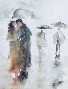 Watercolor painting of people in the rain Watercolor Sketch, Watercolor Portraits, Watercolor Landscape, Abstract Watercolor, Watercolor Paintings, Watercolours, Watercolor Techniques, Art Techniques, Pinturas Em Tom Pastel