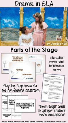 As part of any drama unit, teach your students the parts of the stage. This interactive PowerPoint and activity pack get students up and moving to learn terms like upstage, downstage, stage right, etc. This resource is designed to be used in a regular ELA classroom or in a Drama elective. (includes two versions: grades 3-5 and 6-12)