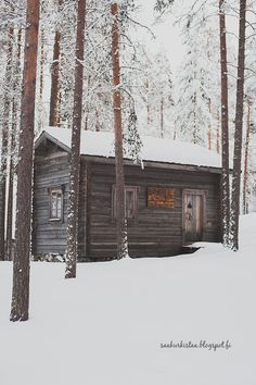 Winter in Finland Tiny Cabins, Tiny House Cabin, Cabin Homes, Cottage Homes, Wooden Buildings, Small Buildings, Finland Destinations, Crooked House, Finland Travel