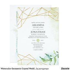 Watercolor Geometric Virtual Baby or Bridal Shower Invitation Trendy long distance virtual baby or bridal shower invitation with gold geometric frame designed to be quickly and easily customized to your event specifics. Personalised Wedding Invitations, Simple Wedding Invitations, Watercolor Wedding Invitations, Floral Invitation, Bridal Shower Invitations, Zazzle Invitations, Invitation Design, Personalized Wedding, Virtual Baby Shower