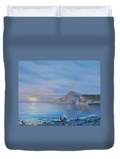 Awaiting For New Day Duvet Cover for Sale by Elena Antakova Art Prints For Home, Home Art, Original Paintings For Sale, Before Sunrise, Blue Hour, Painting Art, New Day, Serenity, Duvet Covers