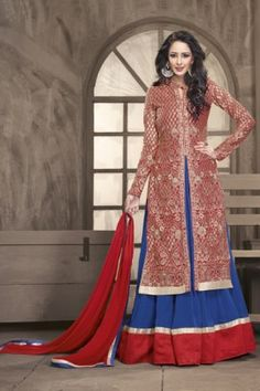 BEAUTIFUL RED & BLUE WITH GEORGETTE TOP SANTOON INNER FIVS 6002