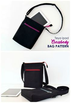 This is a fantastic crossbody bag that is a practical yet stylish design for everyday use, that will be perfect for you. It's large enough to hold all your essentials, including that iPad, tablet… Handbag Patterns, Bag Patterns To Sew, Sewing Patterns, Simple Bags, Easy Bag, Ipad Carrying Case, Diy Messenger Bag, Ipad Bag, Across Body Bag