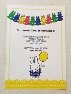 NEW Bright version of the Miffy (by Dick Bruna) Invitation by BlossomTreeDesigns