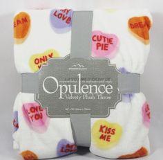 "Berkshire Opulence Valentine Candy Hearts Velvety Plush Throw 60"" x 70"" New #Opulance"