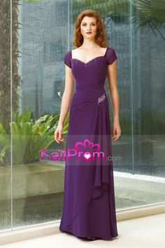 A Line Cap Sleeve Long Dress Beaded Mother Of The Bride Dresses