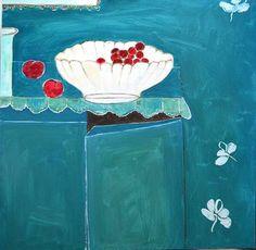 "Saatchi Art Artist Anastazia David; Painting, ""The cherries"" #art 39.4 H x 39.4 W $2000"