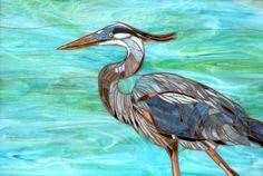 Mosaic Blue Heron Print - Limited Edition Giclee Print -  Mosaic Art