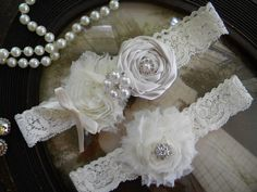 Wedding Garter  Ivory Lace Garter Set  Vintage  by thehoneybeeshop, $24.50