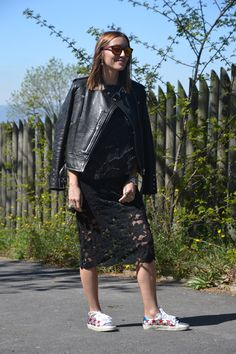 Leather Jacket + Embellished Sweat shirt + Lace Midi Skirt + Print Sneakers