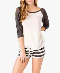 Raglan Top & Striped Shorts PJ Set - White/Charcoal.