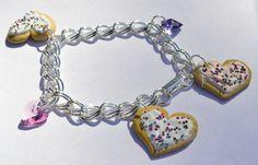 Charm Bracelet Sugar Cookie Polymer Clay Swarovski Crystal Hearts on Etsy, $25.00
