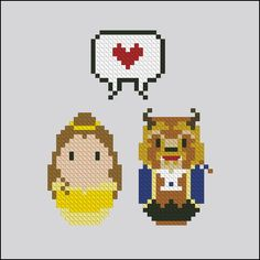Beauty and the Beast - Belle and the Beast - Mini People in Love - Cross Stitch Patterns - Products