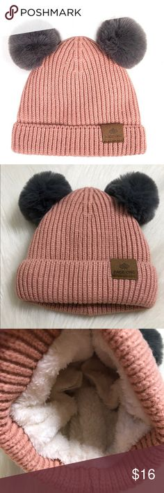 69acf4d3dcadc1 Baby or Toddler Fleece Lined Pink Winter Hat Baby or Toddler Fleece Lined  Pink Winter Hat Adorable with double Pom Pom. Fleece lined to keep your ...