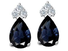 sapphire and diamond earrings in 14k white gold | black diamonds