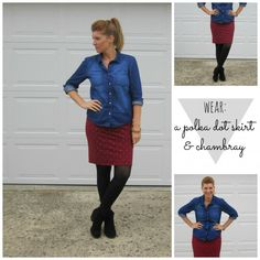 pencil skirt and chambray button-down